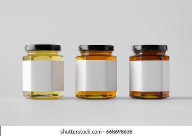 Honey Jar Mock-Up - Three Jars. Blank Label