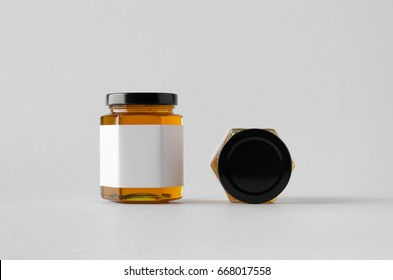 Honey Jar Mock-Up - Two Jars. Blank Label