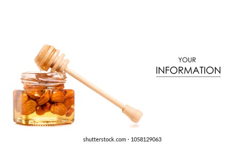 A honey jar with a spoon for honey nuts almonds pattern on a white background isolation