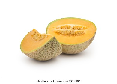 Honey mellon isolated on white. Clipping path included.