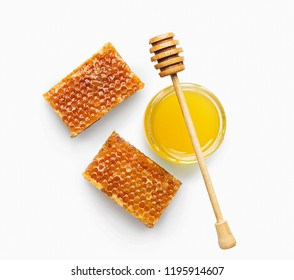 Honey. Natural bee products isolated on white background. Organic ingredients for cosmetics or medicine, top view