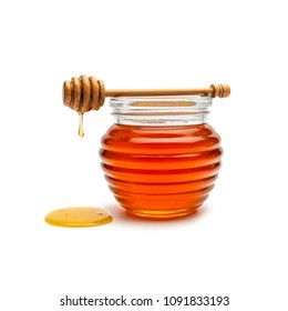 Honey pot and dipper isolated on white background, package design concept image