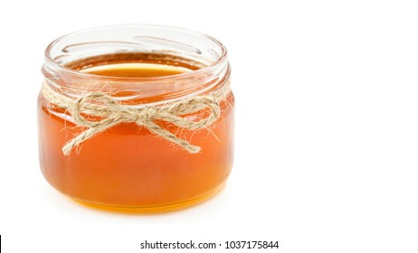 honey pot on isolated white background, copy space, template.