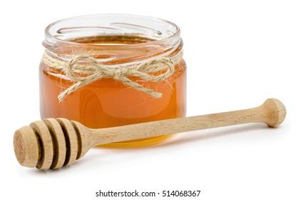 honey pot on isolated white background, rope