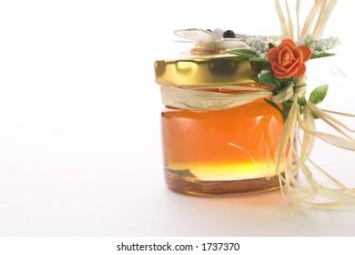 Honey pot with soft white background