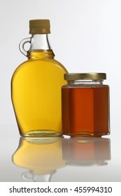 honey and pure agave syrup on the white background
