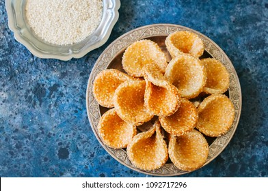 Honey and sesame babouches - popular arabic dessert. Arabic and middle eastern food concept