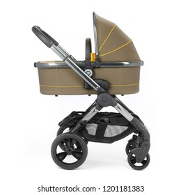 Honey Stroller Isolated on White Background. Side View of Baby Transport. Pushchair and Carrycot with Canopy and Swivel Wheels. Infant Carriage Seat. Travel System or Pram with Elevators and Raincover