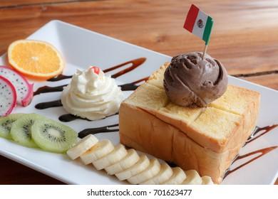 Honey toast with chocolate ice cream.