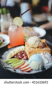 Honey toast with ice cream and fruit