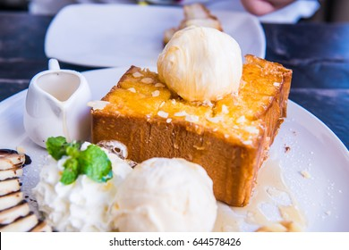 Honey Toast on White Dish, Thailand.
