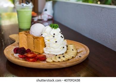 Honey Toast with Vanilla ice-cream.