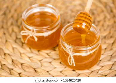 honey in two jars