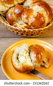 Honey whole wheat rolls with butter