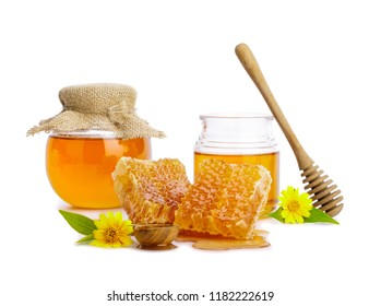 Honeycomb and honey bee in the jar with honey dipper isolate on white background, bee products by organic natural ingredients concept