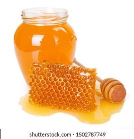 honeycomb with honey isolated on white background closeup