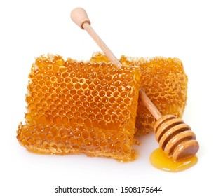 honeycomb with honey isolated on white background closeup