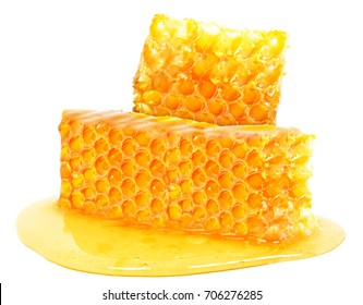 Honeycomb honey isolated on white background