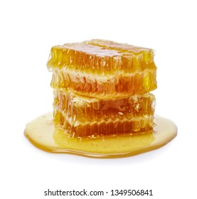 Honeycomb isolate on white background, bee products by organic natural ingredients concept