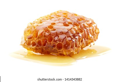Honeycomb with natural honey on white background