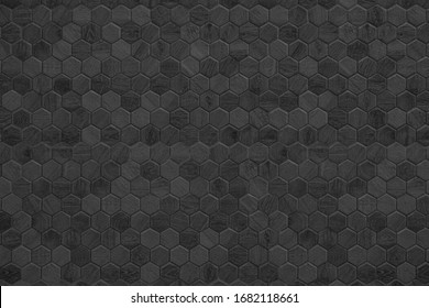 Honeycomb patterned wood panels in hexagonal shape, wood, blackground, abstract black dark grey pattern background