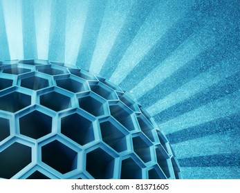 honeycomb  sphere on blue  background.  3d illustration.