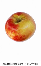 Honeycrisp apple (Malus domestica Honeycrisp). Hybrid between Macoun apple and Honeygold apple. Image of single apple isolated on white background