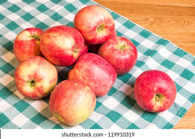 Honeycrisp Apples on green and white checked cloth