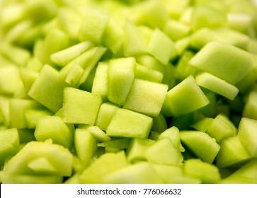 Honeydew Melon Fruit Freshly Diced in Bowl
