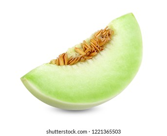 Honeydew melon isolated on white clipping path.
