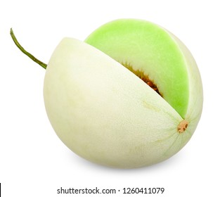 Honeydew melon isolated on white with clipping path