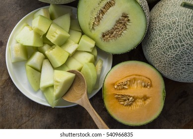 A honeydew melon, also known as a honeymelon. it is enrich water and sugar. it is not good for fat people. but melon is a delicious fruit packed with nutrition. some people put  melon in salad..