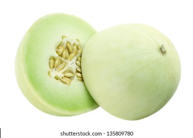 Honeydew Melon on White Background