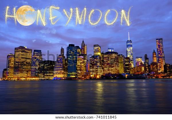 Honeymoon Fireworks Over New York City Stock Photo Edit Now