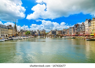 Honfleur famous village harbor skyline and water. Normandy, France, Europe. Long exposure.