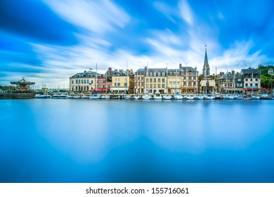 Honfleur famous village harbor skyline and water reflection. Normandy, France, Europe. Long exposure.
