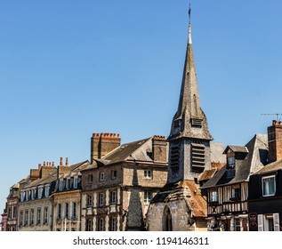 Honfleur, France - 2018. Scenic view of the Honfleur city architecture in Normandy, France.