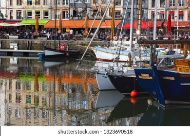 HONFLEUR, FRANCE - APRIL 8, 2018: view of the bay and the embankment  in the famous French city Honfleur. Normandy, France