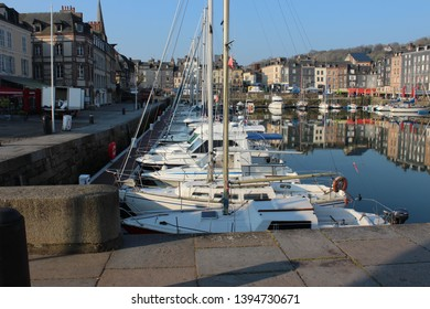 Honfleur, France, April 9th 2019: Small yachts in Vieux Bassin in Honfleur, France