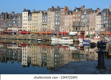 Honfleur, France, April 9th 2019: Boats in Vieux Bassin in Honfleur, France