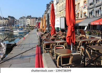 Honfleur, France, April 9th 2019: Restaurants near Vieux Bassin in Honfleur, France