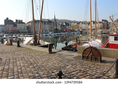 Honfleur, France, April 9th 2019: Cobbled path near Vieux Bassin in Honfleur, France