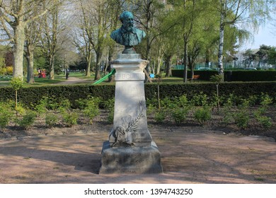 Honfleur, France, April 9th 2019: Eugene Boudin statue in Honfleur, France