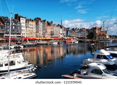HONFLEUR, FRANCE - AUGUST 08: The Port of Honfleur is the harbour of the Norman town of Honfleur, France.
