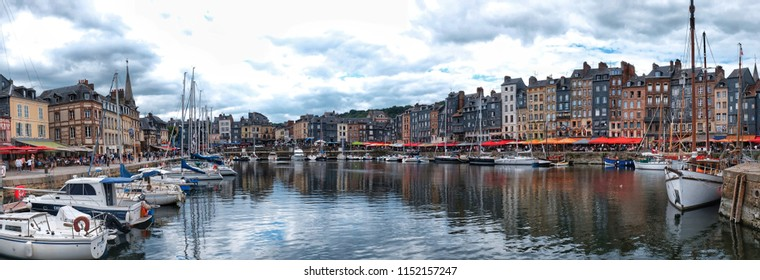 HONFLEUR, FRANCE - AUGUST 08: Honfleur is a small port town in the French department of Calvados. It lies on the southern bank of the Seine near its mouth in the English Channel.