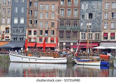 Honfleur, France - august 18 2016 : the old port in summer
