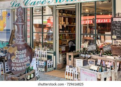 HONFLEUR, FRANCE - AUGUST 24, 2017: Tourist liquor store in historic city of Honfleur