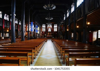 Honfleur, France - January 09, 2014: Interior of Sainte Catherine church