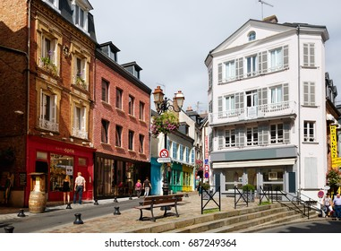 HONFLEUR, FRANCE - JULY 13 : Central shopping street in Old Town on July 13, 2017 in Honfleur, France