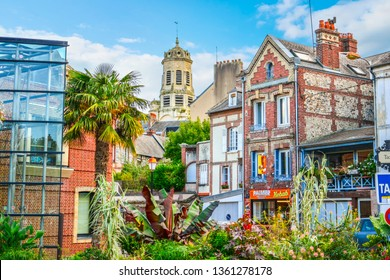 Honfleur, France - September 20 2018: The picturesque downtown area near the port and harbour at Honfleur France, a fishing village on the coast of Normandy France.